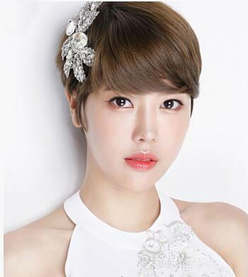 这一款超有个性的新娘短发发型, 帅气的短发发型,简单的栗色发