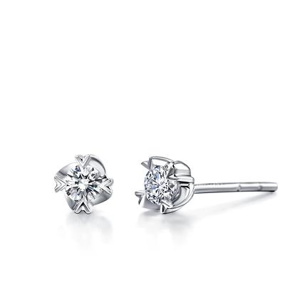 美丽年华 白18K金钻石耳钉