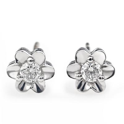 白18K金钻石耳钉-小雏菊