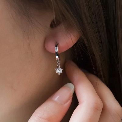 白18K金钻石耳环-丁香