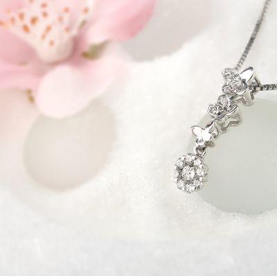 白18K金钻石吊坠-三蝶飞舞