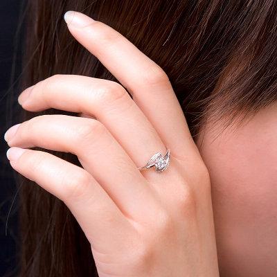 白18K金钻石女戒-新月