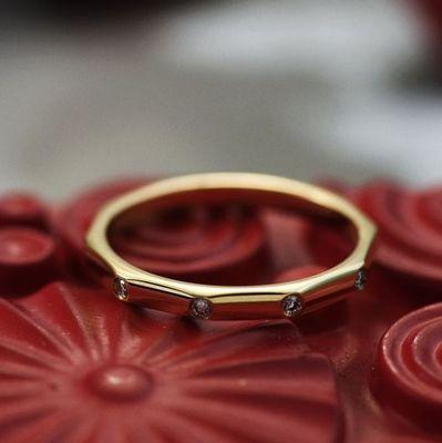 黄18K金钻石戒指