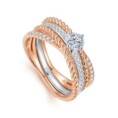 百变风情编织钻石组合戒指